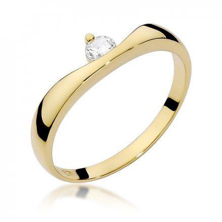 Biżuteria SAXO 14K Pierścionek z brylantem 0,15ct W-263 Złoty