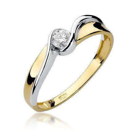 Biżuteria SAXO 14K Pierścionek z brylantem 0,15ct W-278 Złoty