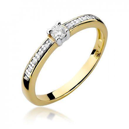 Biżuteria SAXO 14K Pierścionek z brylantami 0,13ct W-288 Złoty