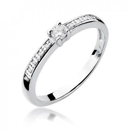 Biżuteria SAXO 14K Pierścionek z brylantami 0,13ct W-288 Białe Złoto