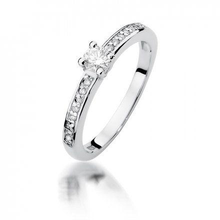Biżuteria SAXO 14K Pierścionek z brylantami 0,28ct W-288 Białe Złoto