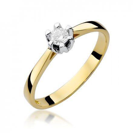 Biżuteria SAXO 14K Pierścionek z brylantem 0,12ct W-299 Złoty