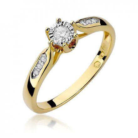 Biżuteria SAXO 14K Pierścionek z brylantami 0,11ct W-328 Złoty