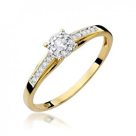 Biżuteria SAXO 14K Pierścionek z brylantami 0,13ct W-34 Złoty