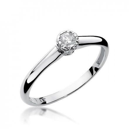Biżuteria SAXO 14K Pierścionek z brylantem 0,13ct W-42 Białe Złoto