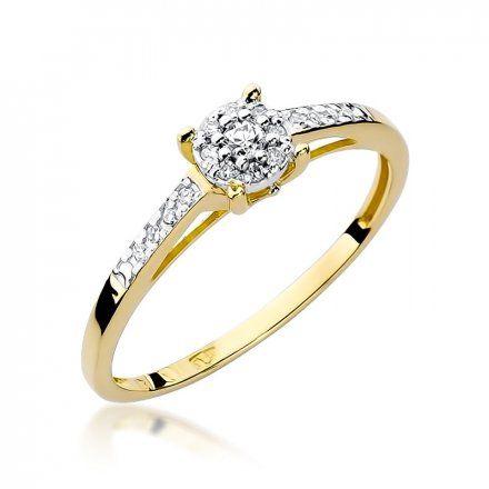Biżuteria SAXO 14K Pierścionek z brylantami 0,12ct W-55 Złoty
