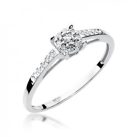 Biżuteria SAXO 14K Pierścionek z brylantami 0,12ct W-55 Białe Złoto