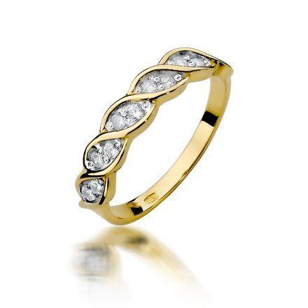 Biżuteria SAXO 14K Pierścionek z brylantami 0,20ct W-349 Złoty