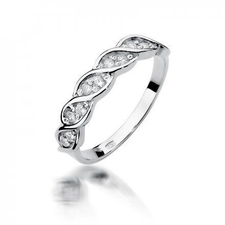 Biżuteria SAXO 14K Pierścionek z brylantami 0,20ct W-349 Białe Złoto