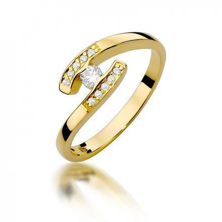 Biżuteria SAXO 14K Pierścionek z brylantami 0,19ct W-372 Złoty