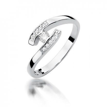 Biżuteria SAXO 14K Pierścionek z brylantami 0,19ct W-372 Białe Złoto