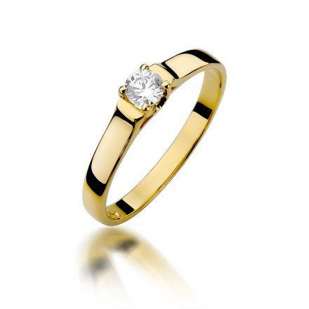 Biżuteria SAXO 14K Pierścionek z brylantem 0,18ct W-381 Złoty