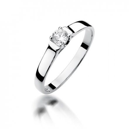 Biżuteria SAXO 14K Pierścionek z brylantem 0,18ct W-381 Białe Złoto