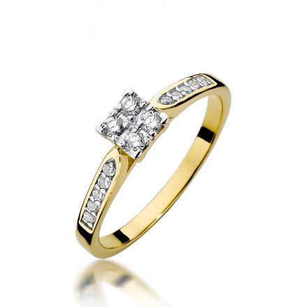 Biżuteria SAXO 14K Pierścionek z brylantami 0,16ct W-402 Złoty