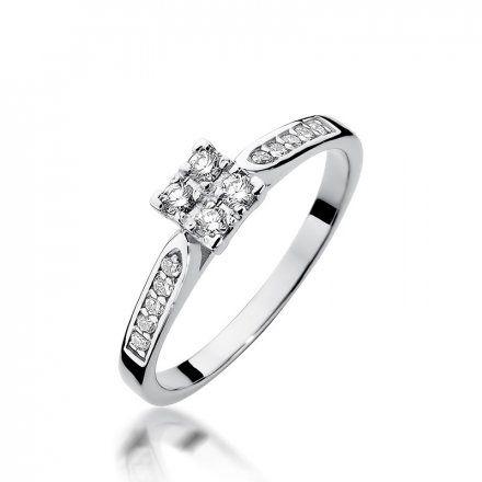 Biżuteria SAXO 14K Pierścionek z brylantami 0,16ct W-402 Białe Złoto
