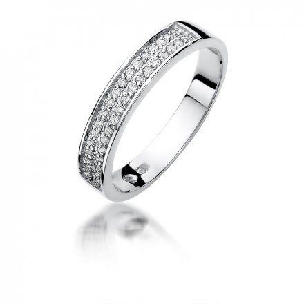 Biżuteria SAXO 14K Pierścionek z brylantami 0,18ct W-410 Białe Złoto