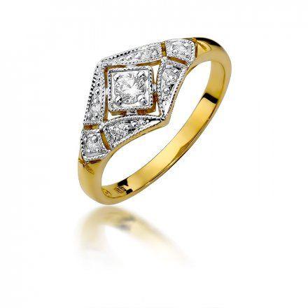 Biżuteria SAXO 14K Pierścionek z brylantami 0,19ct W-412 Złoty