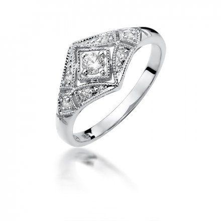 Biżuteria SAXO 14K Pierścionek z brylantami 0,19ct W-412 Białe Złoto