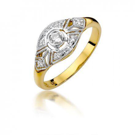 Biżuteria SAXO 14K Pierścionek z brylantami 0,19ct W-413 Złoty