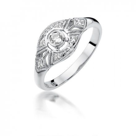 Biżuteria SAXO 14K Pierścionek z brylantami 0,19ct W-413 Białe Złoto