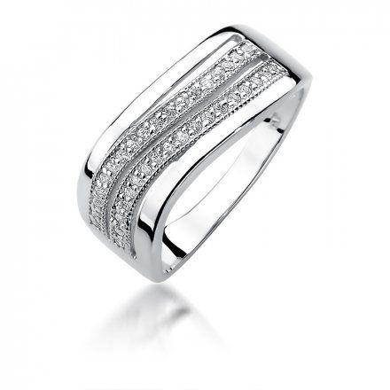 Biżuteria SAXO 14K Pierścionek z brylantami 0,18ct W-416 Białe Złoto