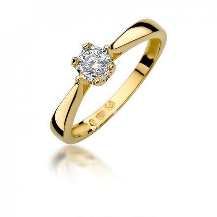 Biżuteria SAXO 14K Pierścionek z brylantem 0,20ct W-429 Złoty