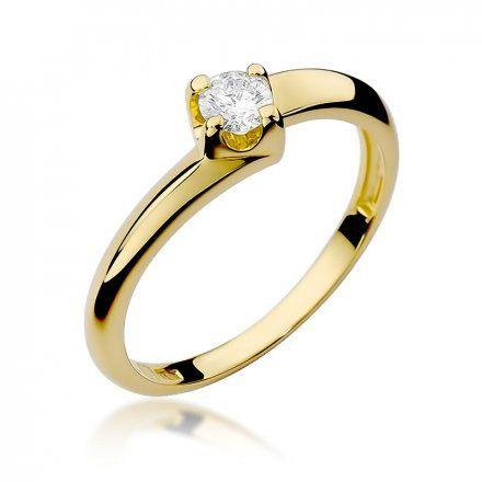 Biżuteria SAXO 14K Pierścionek z brylantem 0,20ct W-161 Złoty