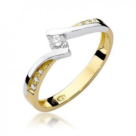 Biżuteria SAXO 14K Pierścionek z brylantami 0,16ct W-177 Złoty