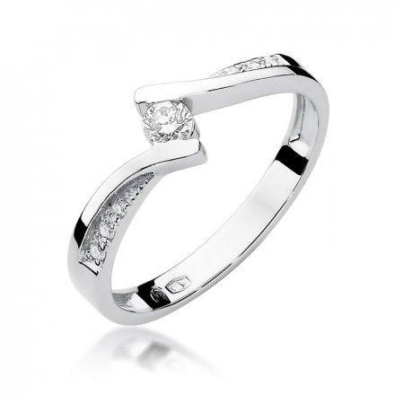 Biżuteria SAXO 14K Pierścionek z brylantami 0,16ct W-177 Białe Złoto