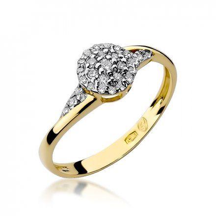 Biżuteria SAXO 14K Pierścionek z brylantem 0,20ct W-18 Złoty