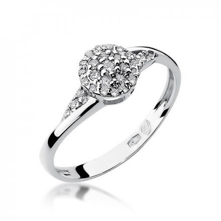 Biżuteria SAXO 14K Pierścionek z brylantem 0,20ct W-18 Białe Złoto
