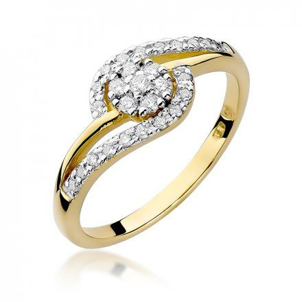 Biżuteria SAXO 14K Pierścionek z brylantem 0,17ct W-184 Złoty
