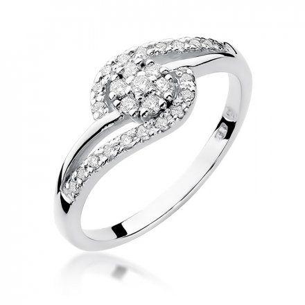 Biżuteria SAXO 14K Pierścionek z brylantem 0,17ct W-184 Białe Złoto