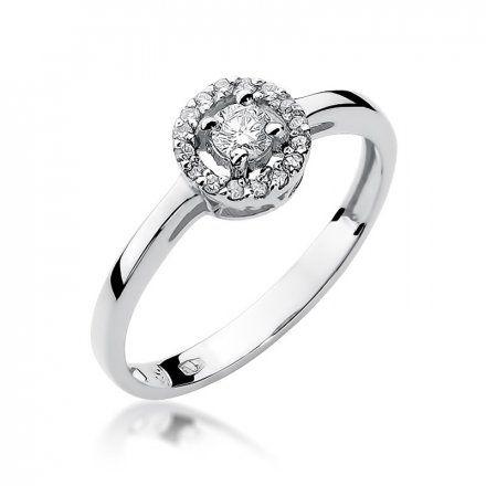 Biżuteria SAXO 14K Pierścionek z brylantami 0,20ct W-238 Białe Złoto