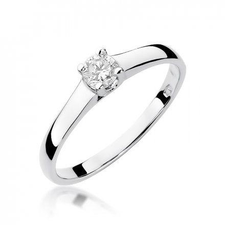 Biżuteria SAXO 14K Pierścionek z brylantem 0,20ct W-239 Białe Złoto