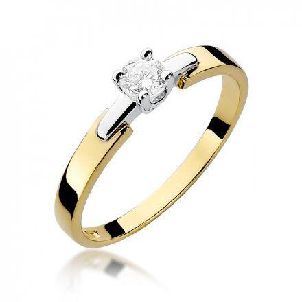 Biżuteria SAXO 14K Pierścionek z brylantem 0,20ct W-241 Złoty