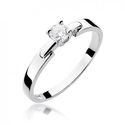 Biżuteria SAXO 14K Pierścionek z brylantem 0,20ct W-241 Białe Złoto