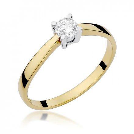 Biżuteria SAXO 14K Pierścionek z brylantem 0,20ct W-242 Złoty