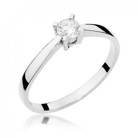 Biżuteria SAXO 14K Pierścionek z brylantem 0,20ct W-242 Białe Złoto