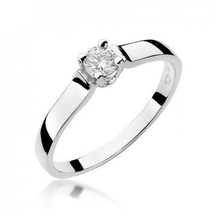 Biżuteria SAXO 14K Pierścionek z brylantem 0,20ct W-244 Białe Złoto