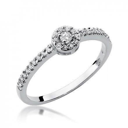 Biżuteria SAXO 14K Pierścionek z brylantami 0,19ct W-273 Białe Złoto