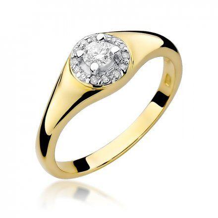 Biżuteria SAXO 14K Pierścionek z brylantami 0,17ct W-41 Złoty