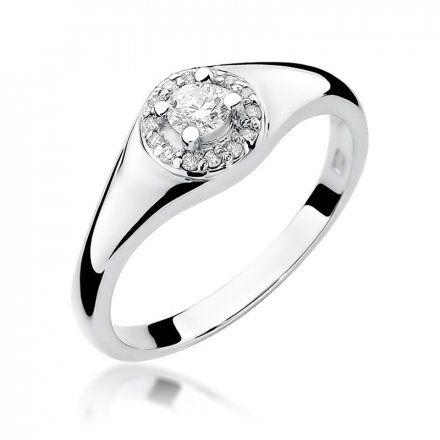 Biżuteria SAXO 14K Pierścionek z brylantami 0,17ct W-41 Białe Złoto