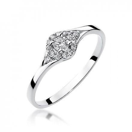 Biżuteria SAXO 14K Pierścionek z brylantami 0,17ct W-56 Białe Złoto