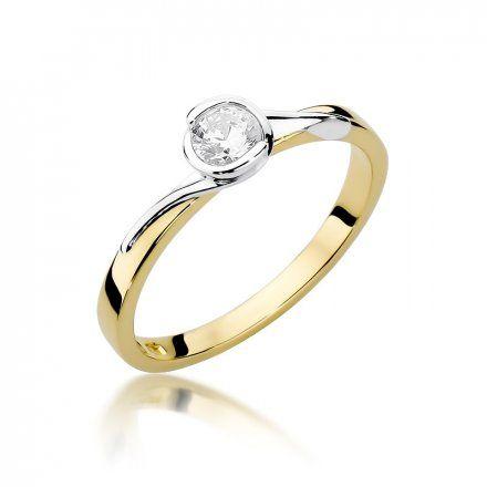 Biżuteria SAXO 14K Pierścionek z brylantem 0,25ct W-357 Złoty