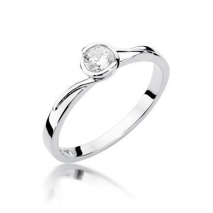 Biżuteria SAXO 14K Pierścionek z brylantem 0,25ct W-357 Białe Złoto