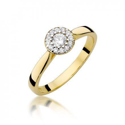 Biżuteria SAXO 14K Pierścionek z brylantami 0,22ct W-362 Złoty