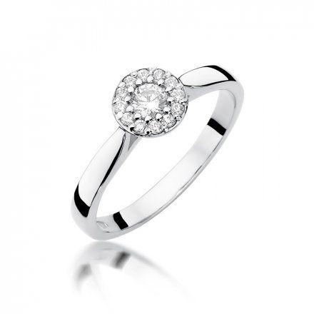 Biżuteria SAXO 14K Pierścionek z brylantami 0,22ct W-362 Białe Złoto