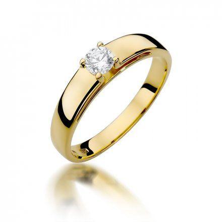 Biżuteria SAXO 14K Pierścionek z brylantem 0,23ct W-374 Złoty