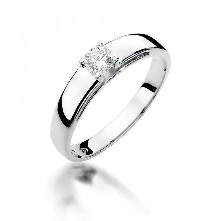 Biżuteria SAXO 14K Pierścionek z brylantem 0,23ct W-374 Białe Złoto